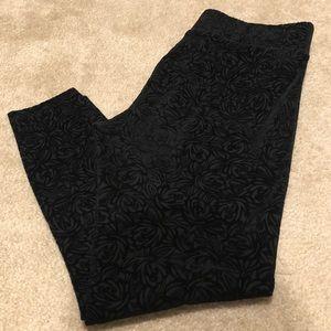 Loft Outlet Ankle Embroidered Leggings (black)